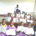 June 2010: in the new classroom with their new books